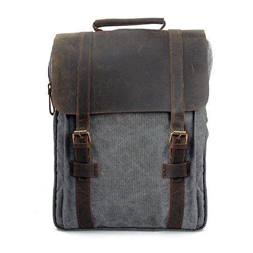 P.KU.VDSL Vintage Tela Zaino Esterni Viaggi Zaino Scuola Borsa a Tracolla Zaino in Pelle Tela Vera Pelle fit iPad e 15' Laptop Backpack per Uomo e donna (Grigio)