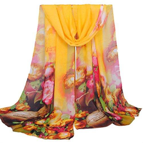 OverDose Bunte Blume Weiche Chiffon Schals Mode Frauen Lange Wrap Schal Damen Schals Halstuch Tücher - Taschen Mit Wollschal