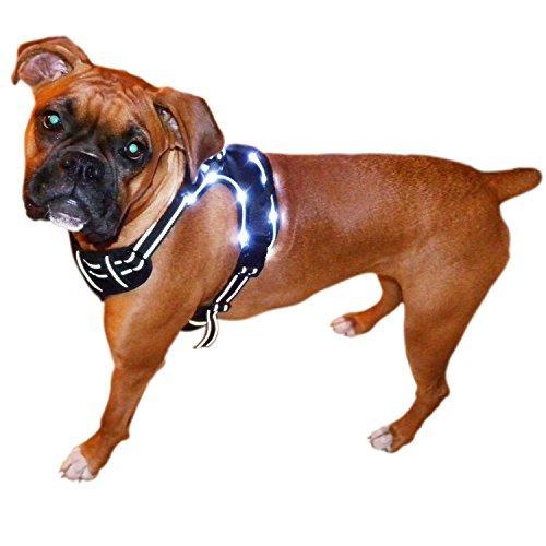 Best Friend Mobilität Ultra Reflective Hundegeschirr mit Oder Ohne LED Beleuchtung Vorne Range Outdoor Pet Weste mit Griff 4Größen S bis XL Schwarz, LED Small, Schwarz
