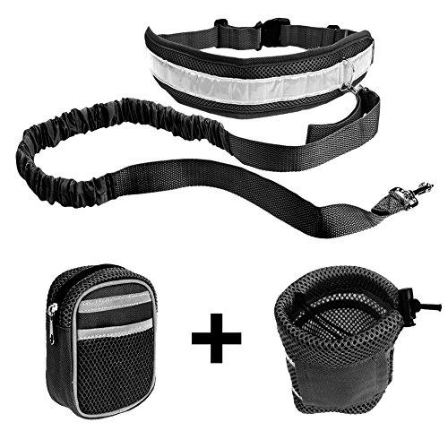 Ploopy Joggingleine aus Nylon für Sportliche Hundebesitzer mit Verstellbarem Bauchgurt. Für Stressfreies Joggen mit Dem Hund, Hände Bleiben Frei Jogging Hundeleine und 2 Tasche Schwarz