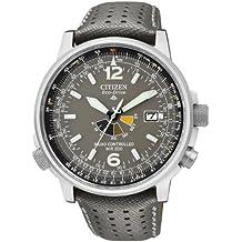 Citizen AS2020-11H - Reloj analógico de cuarzo para hombre, correa de piel de borrego color gris