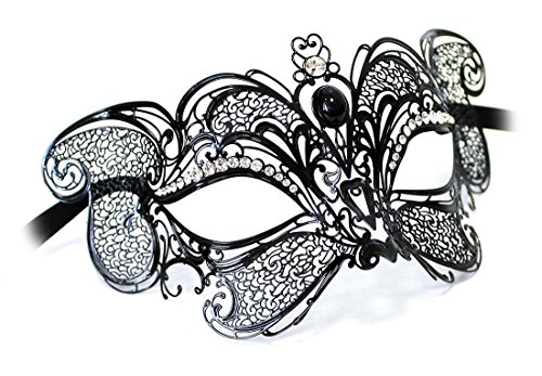 Handarbeit Original Venezianische Maske Damen Metallmaske Gatto New Lux schwarz mit Strasssteinen besetzt