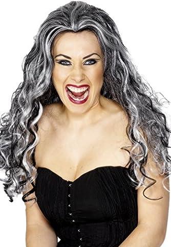 Smiffys Damen Renaissance Vampir Perücke, Grau-Schwarz, One Size, 29243 (Kostüm Idee)