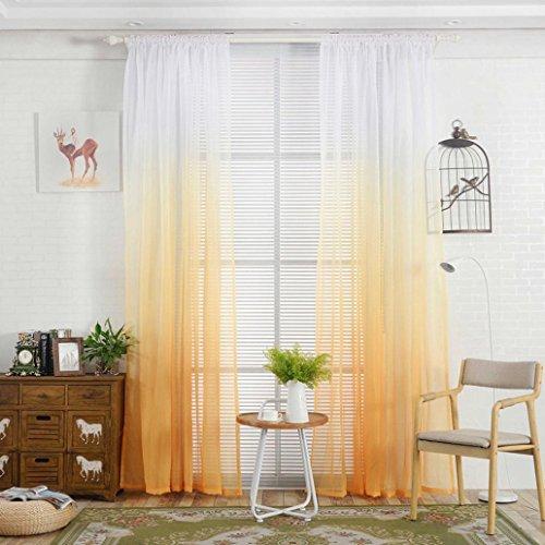 Display08-  tenda a gradazione di colore, tulle, per finestra, drappo, velata, mantovana, decorazione per stanza, yellow, 39.37