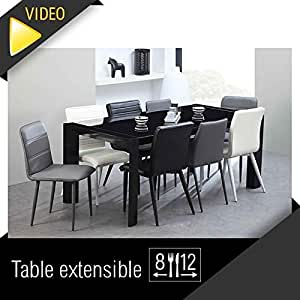 Milano table extensible 180 a 270cm verre noir for Table extensible 270