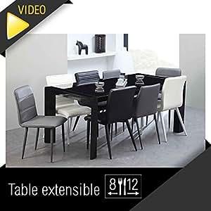 Milano table extensible 180 a 270cm verre noir for Table extensible 270