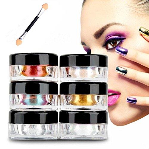Baojunht 12 couleurs Vernis à ongles Poudre de paillettes en brillant à ongles Miroir Poudre Maquillage Art DIY Chrome Pigment avec éponge bâton