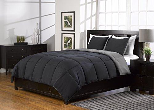 2Stück, Super Soft, Alternative Daunen Tröster Set, Twin/twinxl, schwarz/grau/Burgund, by karlai Bettwäsche Kollektion, Polyester-Mischgewebe, schwarz / grau, Twin -