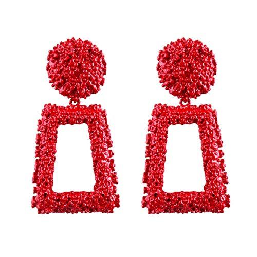 Jasnyfall Punk Style Frauen Große Geometrische Anhänger Lange Ohrringe Modische Modeschmuck geometrische Ohrringe für Frauen geometrische Ohrringe Farbe: rot