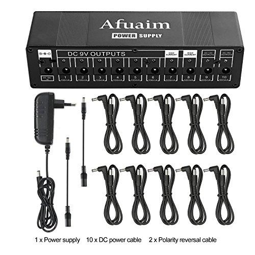 Afuaim Fuente de Alimentación Para Efectos de Guitarra Pedales 10 Aislado de salida CC para 9 V/12 V/18 V Pedal de Efectos,Cables incluidos