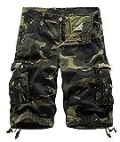 Aieoe Herren Camouflage Cargo Shorts Sommer Bermuda Vintage Casual Kurze Hose Sommerhose Loose-Fit Sport Outdoor Arbeitshosen Freizeithose