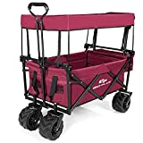 COSTWAY Collapsible Folding Wagon Cart with Sun/Rain Shade, Adjustable Extendable Push & Pull