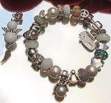 Bettelarmband mit Beads Stopper Clip Charms aus Glas Murano Strassteinchen facettiertes Kristall Antiksilber und Geschenkbox Schutzengel Glücksbringer in Handarbeit gefertigt.