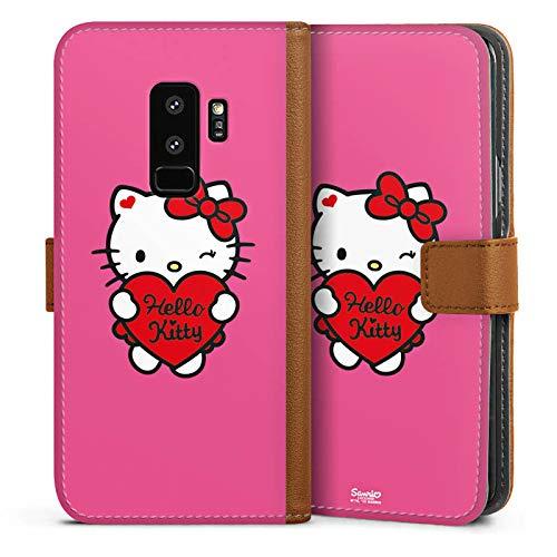 DeinDesign Tasche kompatibel mit Samsung Galaxy S9 Plus Leder Flip Case Ledertasche Hello Kitty Merchandise Fanartikel Amour