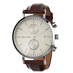June & Ed Cuarzo Acero Inoxidable Correa Reloj de pulsera para Hombre con la ventana del dial de cristal de zafiro de June & Ed