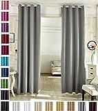 WOLTU #488, Vorhang Gardinen Blickdicht mit Ösen, Leichter Verdunklungsvorhang für Wohnzimmer Schlafzimmer Tür, 135x225 cm, Grau, (1 Stück)