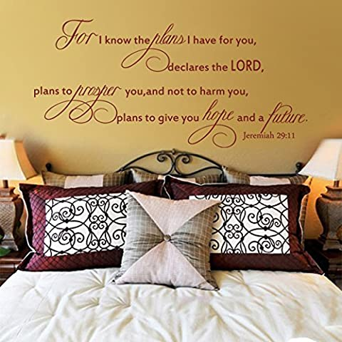 For I Know The Plans I Have For You Declares The Lord Vinyl Bible Wall Deacl Inspirational Wall Quote Christian Wall Sticker Graphic Home Art Decor Black