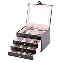 Rowling Leather Jewelry Box, Jewelry Organizer Case with Mirror and Storage Drawers ZG156 (Black)