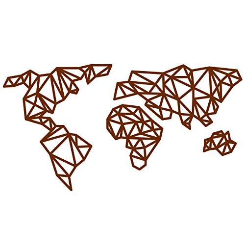 WANDKINGS Wandtattoo - Origami-Style Weltkarte - 110 x 58 cm - Braun - Wähle aus 5 Größen & 35 Farben -
