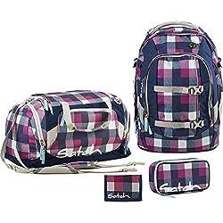 Satch by Ergobag Schulrucksack-Set Pack 4-tlg Berry Carry 966 karo lila-blau