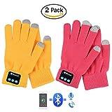 Hmilydyk Lot de 2sans fil Bluetooth Chaussettes d'hiver Unisexe chaud batterie écran tactile en tricot Chaussettes avec les mains appel pour sports de plein air, course à pied, marche, cadeaux de Noël, 1*Pink + 1*Yellow