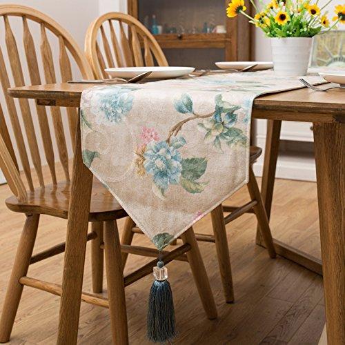 SAEJJ-Runner Bandiera verde-bandiera europea di stile pastorale americana Jacquard letto tavolo scrivania letto sciarpa bandiera tavolo mobile TV , green bonn , 35*200cm - Raso Musicale Mobile
