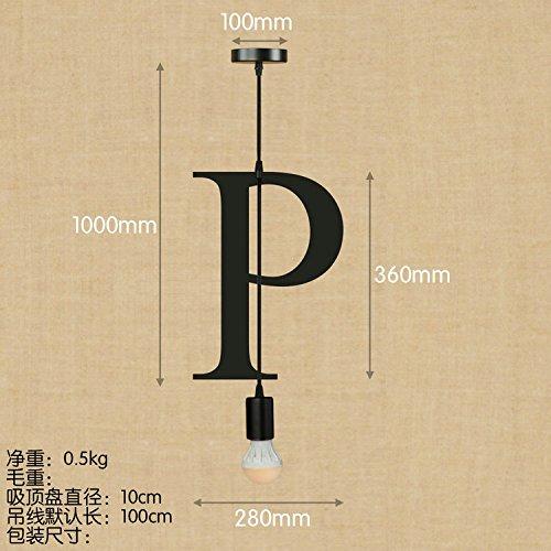 String-kronleuchter Schatten (OOFAY QZY Englisch Alphabet Pendelleuchte, Kreative Schlafzimmer Wohnzimmer Restaurant Kaffee Dekoration,P)