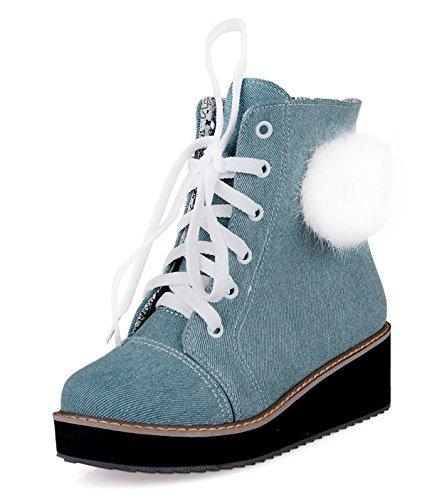 YE Shoes Damen Wedges Keilabsatz Plateau Denim Stiefeletten mit Schnürung 5cm Absatz süße Herbst Canvas Schuhe Hellblau