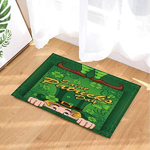 ajhgfjgdhkmdg Geheimnisvolle grüne Buchstaben drucken Zeichentrickfigur grünen Hut braune Stiefel rutschfeste Badezimmer Dusche Küche Samt Cartoon HD Landschaft Innenkissen