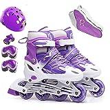 FL Bygo Kinder Rollschuhe Skates männer und Frauen einstellbare pu Gummi räder gerade Reihe atmungsaktiv Flash Rollschuhe Set,Purple,S