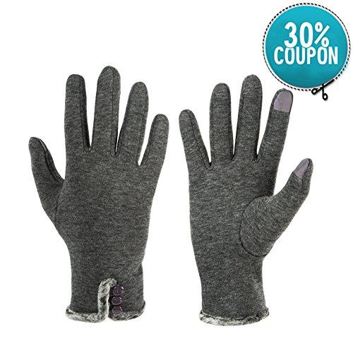 GLOUE Warme Handschuhe Damen Winter Handschuhe -Touchscreen Handschuhe Kaschmir Drinnen Draußen Fahrradhandschuhe Motorradhandschuhe Mountainbike-Grau