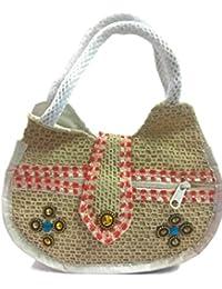 Brown Stylish Eco-friendly Jute Small Handbag Tote Bag With Zippered Closure Cotton Webbed Handles