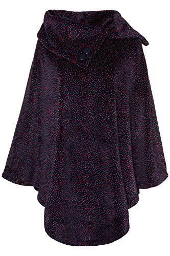 Ulla Popken Damen große Größen bis 3+, Homewear-Poncho, gepunktetes Fleece, asymetrischer Stehkragen, Zierknöpfe, Zipfelsaum dunkelblau 58-64 719006 70-3+ -