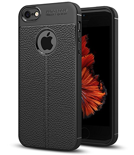 iPhone 5S Fall, iPhone SE Fall, iPhone 5 Fall baisrke Slim Fit Weich Silikon Stoßfest Luxus Kunstleder Striae Design Schutz Schutzhülle für iPhone 5 5S SE [Schwarz] (Luxus Iphone 5 Fall)