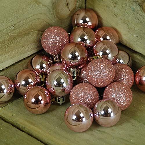 Pms set di 24palline 3cm in pvc, colore: oro rosa