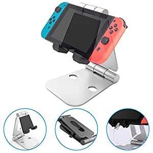 Support Nintendo Switch, iDudu Multi-Angles Aluminium Portable Ajustable Nintendo Switch Play Stand (Argenté)