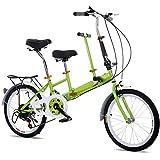 20'Vélo Tandem Pliant Vélo De Famille 2 Seater 7 Vitesse Stable Cadre Solide Vert