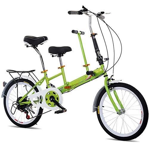 MOMOJA Bicicleta tándem 7 velocidades Bicicleta Plegable de 20  para Padres e Hijos (Verde)