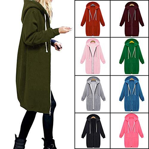 LGWQ Herbst und Winter Frauen Kapuze Langarm Winter große Pullover Damenjacke im Langen Abschnitt Verdickung Shirt outweare outcoatsS - 5XL 9