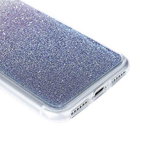 Für iPhone 7 4.7 Zoll Ultra Dünn Silikon Tasche,Für iPhone 7 4.7 Zoll Bling Glitter Schutz Hülle mit Liebe Herzen Ring Halter,Funyye Luxus [Herzen Ring Rosen-Gold Gradient Farbe] Sparkles Glänzend Gli Dunkel Blau Gradient