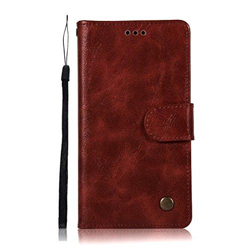 Chreey Motorola Moto G4 Play Hülle, Premium Handyhülle Tasche Leder Flip Case Brieftasche Etui Schutzhülle Ledertasche, Weinrot