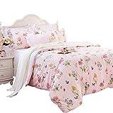Seepong Schmetterlings-Bettbezüge Rosa Blumen Bettwäsche, Hypoallergenic 100% Baumwolle Mädchen Designer Bettwäsche, 135 x 200 cm, 2 x 80 x 80 cm, 3 TLG - Rosa
