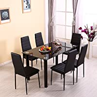 Beshomethings Glass Dining Table Set And 4 Faux Leather High Back Chairs  Home Kitchen Dining Room