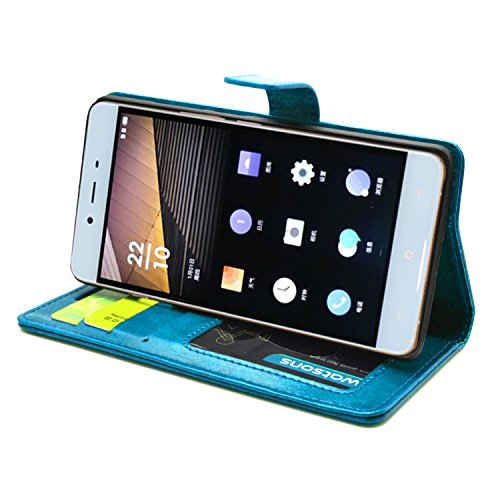 FOSO(TM) OnePlus X High Quality PU Leather Magnetic Flip Cover Case [One Plus X] (Gorgeous Blue)