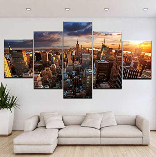 Sanzx The Empire State Building New York Wandposter auf Leinwand, 5-teilig, 30 x 40 x 2 30 x 80 cm