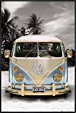 VW Transporter Poster Love California Camper (93x62 cm) gerahmt in: Rahmen schwarz