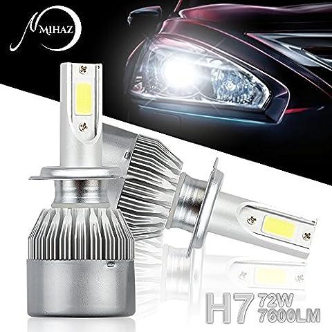 MIHAZ Super Bright Auto LED Scheinwerfer Glühlampen H7,72W 7600lm Auto Exterior Weiß COB Glühbirnen Umbausatz 12v Ersetzen für Halogen oder HID Birnen [Energieklasse A +]