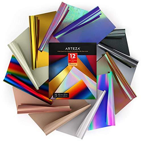Arteza Set Vinile Termoadesivo per Tessuti, 12 Fogli HTV Flessibili da 25,4x30,5 cm, Robusto e Facile da Usare, Sicuro e Atossico, Per Ogni Macchina da Taglio Artigianale, Colori Assortiti, in Scatola