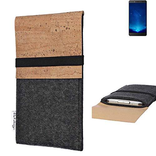 flat.design Handy Hülle SAGRES für Bluboo Maya Max Made in Germany Handytasche Filz Tasche Schutz Case fair Kork
