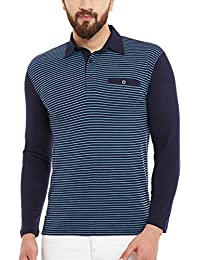 Hypernation Blue And Turquoise Stripe Cotton Polo T-shirt For Men